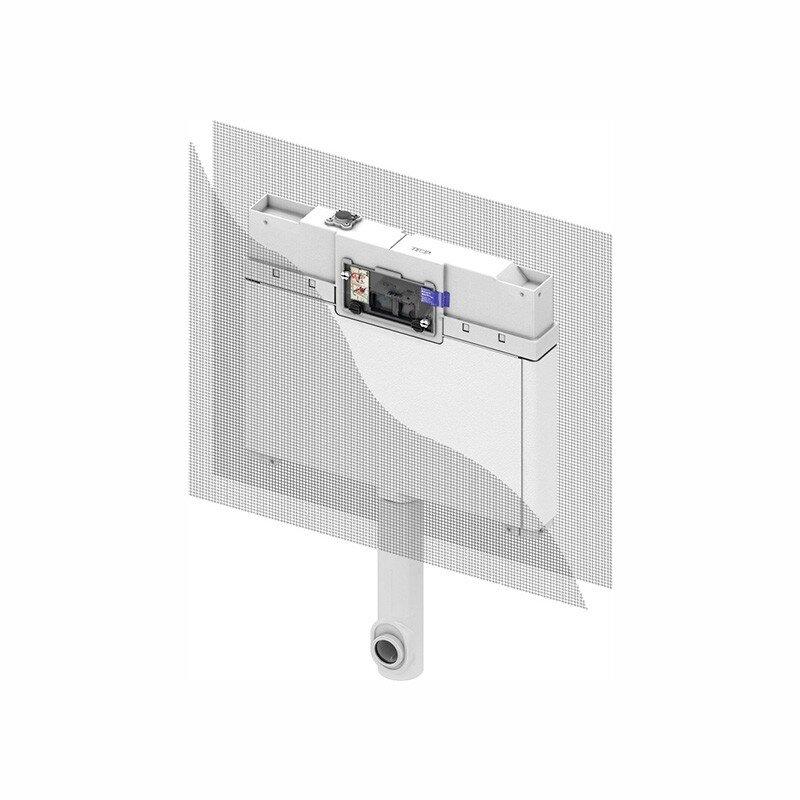 TECEbox cassetta di scarico Octa Tece 8 cm, per WC a terra, altezza di montaggio 111 cm