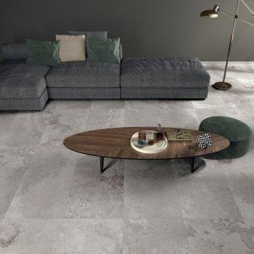 Gres porcellanato rettificato naturale colorato in massa Alpes Raw Grey 60 x 60 ABK