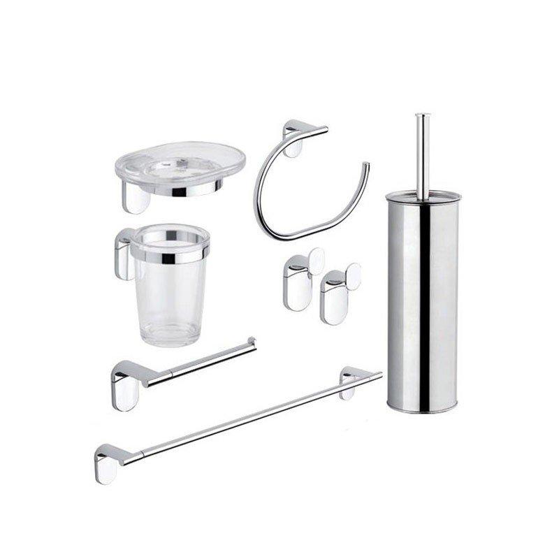 Kit accessori bagno cromo 8 pezzi serie zero metaform for Kit accessori bagno
